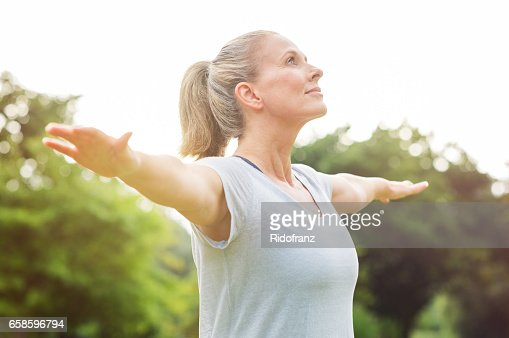 Mature woman yoga exercise : Stock Photo