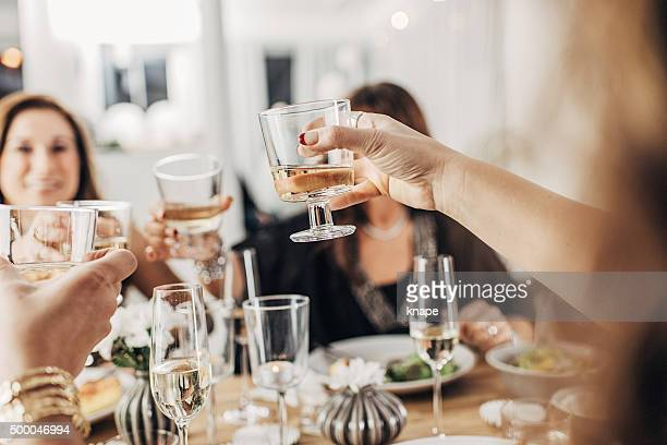 Mature women having dinner party