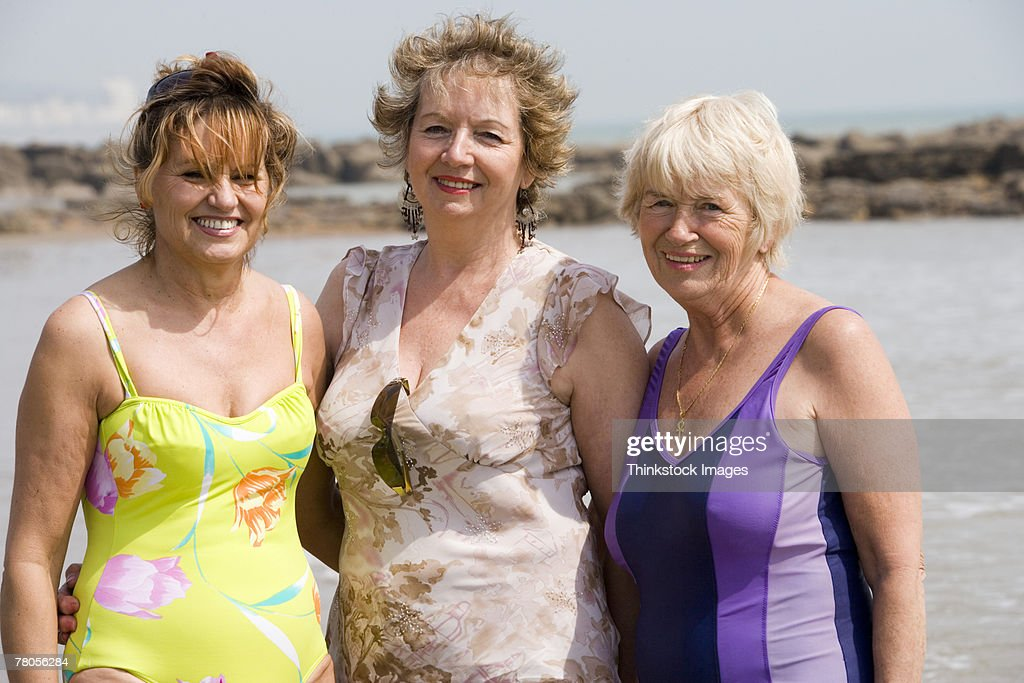 Mature women in bathing suits : Stock Photo