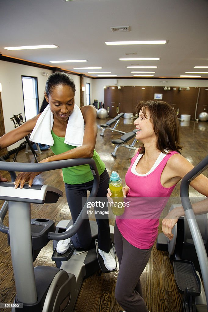 Mature women in health club : Stock Photo