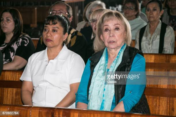 Maty Huitron attends a mass to conmemorate the 24th Anniversary of the death of the Mexican actor Mario Moreno Cantinflas at Basilica de Guadalupe on...