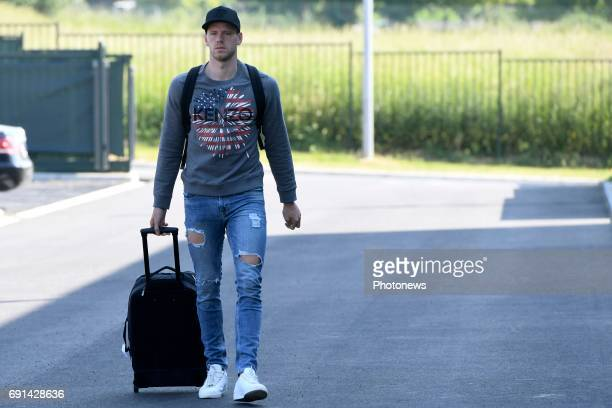 Matz Sels goalkeeper of Belgium arrives at the Martin's Red hotel prior to the friendly macth against Czech Republic as a preparation for the World...
