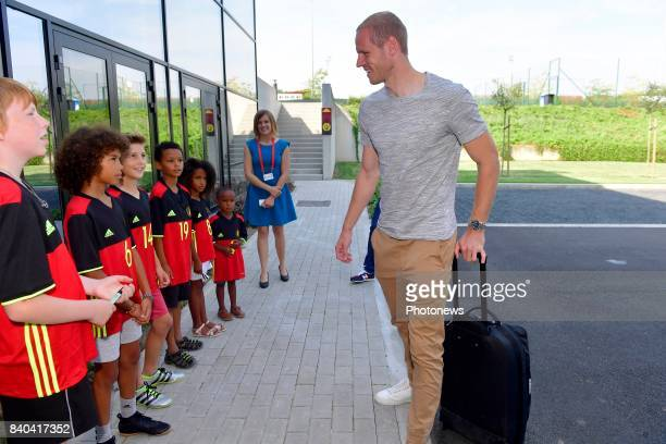 Matz Sels goalkeeper of Belgium arrives at the Martin's Red hotel prior to the World Cup 2018 qualification games against Gibraltar and Greece at the...