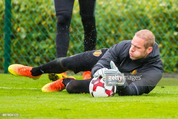 Matz Sels goalkeeper of Belgium during a training session of the National Soccer Team of Belgium prior to the World Cup 2018 qualification games...