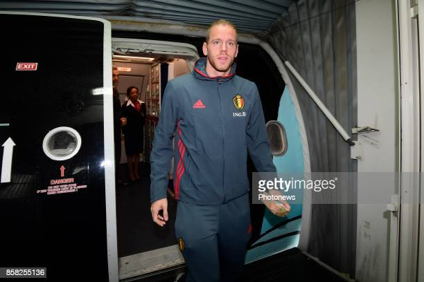Matz Sels goalkeeper of Belgium pictured during the arrival of the National Soccer Team of Belgium prior to the 2018 World Cup qualifier against...