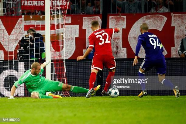 Matz Sels goalkeeper of RSC Anderlecht and Joshua Klimmich of Bayern Munchen scores during the match between Bayern Munchen and Rsc Anderlecht UEFA...