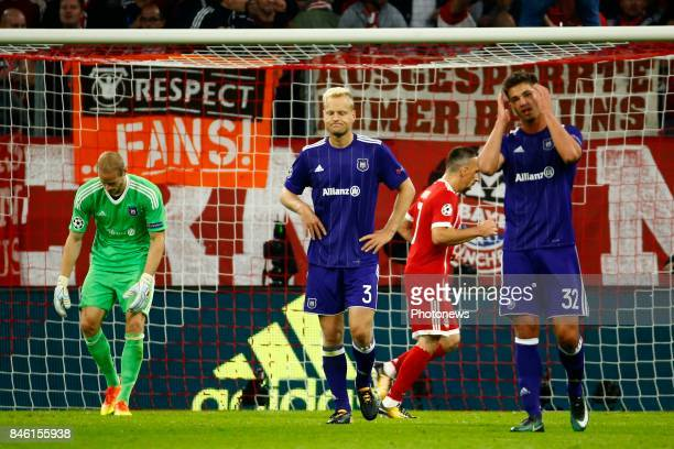 Matz Sels goalkeeper of RSC Anderlecht and Olivier Deschacht defender of RSC Anderlecht and Leander Dendoncker midfielder of RSC Anderlecht during...