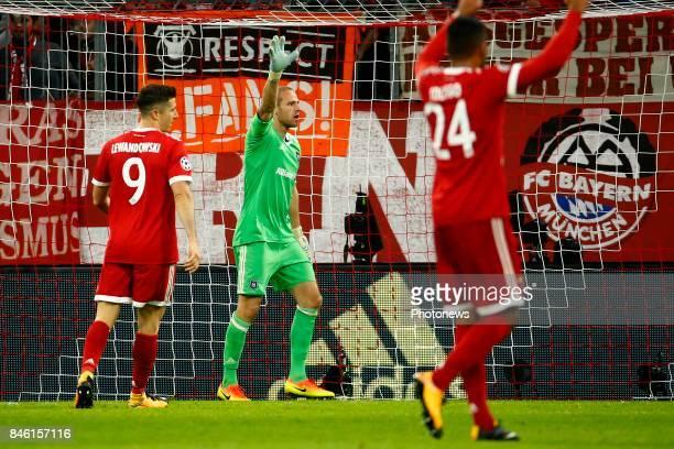 Matz Sels goalkeeper of RSC Anderlecht Thiago Alcantara of Bayern Munchen scores and celebrates during the match between Bayern Munchen and Rsc...