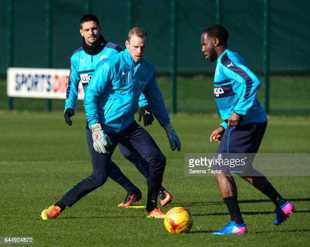 Matz Sels looks to close down Vurnon Anita during the Newcastle United Training Session at The Newcastle United Training Centre on February 24 2017...