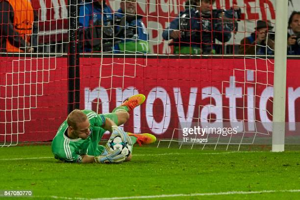 Matz Sels of Anderlecht controls the ball during the UEFA Champions League group B match between Bayern Muenchen and RSC Anderlecht at Allianz Arena...