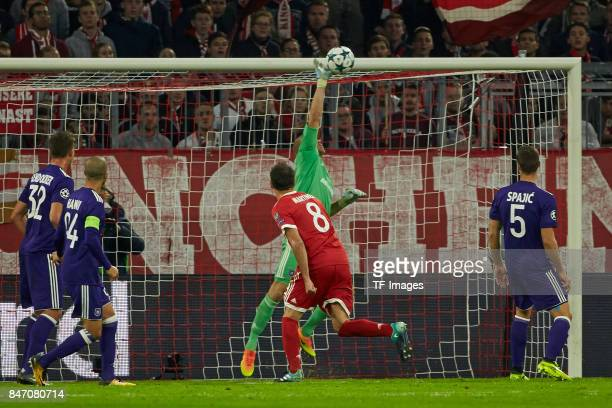 Matz Sels of Anderlecht in action during the UEFA Champions League group B match between Bayern Muenchen and RSC Anderlecht at Allianz Arena on...