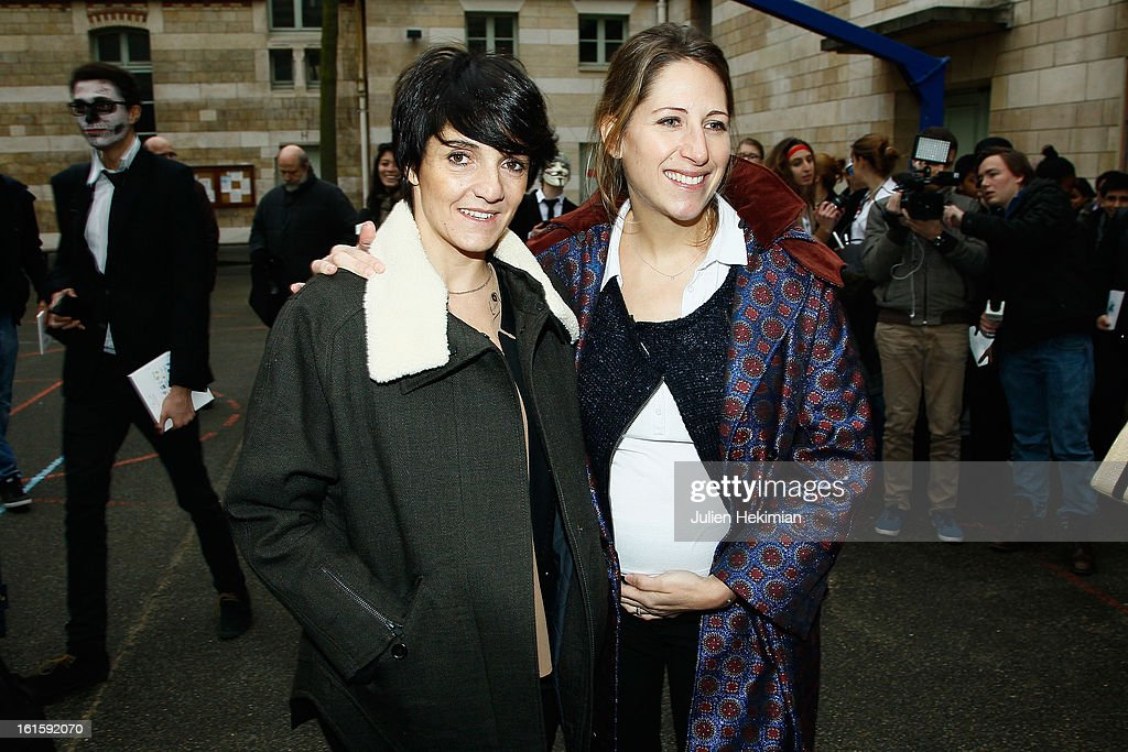 Maud Fontenoy (R) and Florence Foresti attend the Ocean and Environmental Professions conference at Lycee Louis Le Grand on February 12, 2013 in Paris, France.