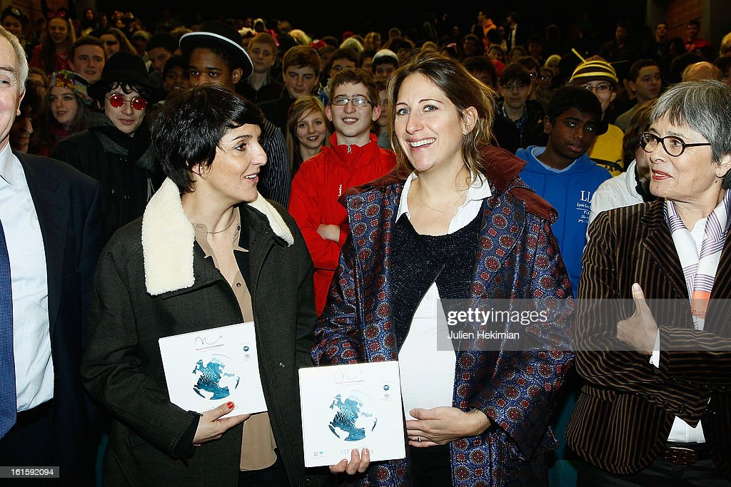 Maud Fontenoy (R) and Florence Foresti participate to the Ocean and Environmental Professions conference at Lycee Louis Le Grand on February 12, 2013 in Paris, France.