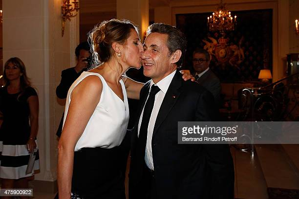 Maud Fontenoy and Nicolas Sarkozy attend the Charity Dinner benefit the Maud Fontenoy Foundation for Preserve Oceans at Hotel Bristol on June 4 2015...