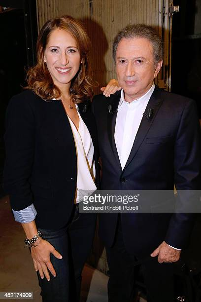 Maud Fontenoy and presenter of the show Michel Drucker attend 'Vivement Dimanche' French TV Show at Pavillon Gabriel on November 26 2013 in Paris...