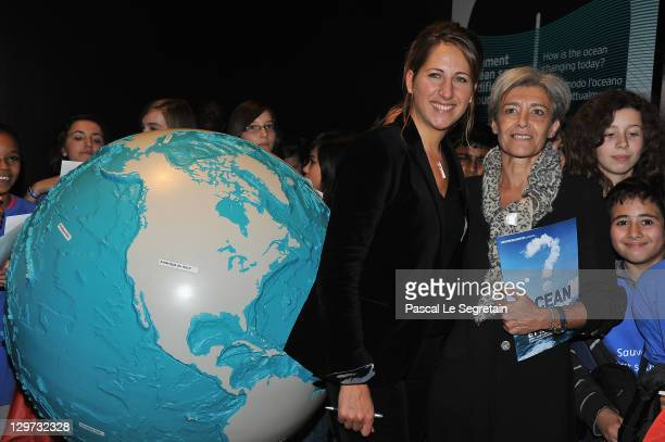 Maud Fontenoy and the Delegate Minister of research Claudie Haignere launch New Pedagogic Programme for Maud Fontenoy's Foundation at La Cite des...