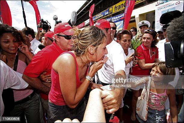 Maud Fontenoy Finishes Her Performance She Arrives In 'Port De La Ponte Des Galets' In France On March 15 2007 French yachtswoman Maud Fontenoy...