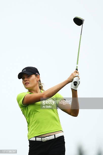 Maude Aimee Leblanc of Canada hits off of the first tee during round 2 of the 2013 US Women's Open at Sebonack Golf Club on June 28 2013 in...