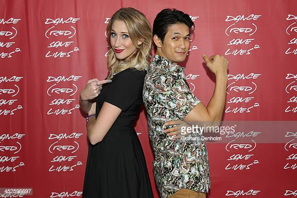 Maude Garrett and Harry Shum Jr pose during DANCE SAVE LIVES at Stereosonic Sydney on November 30 2013 in Sydney Australia Photo by Graham...