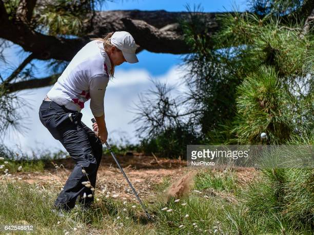MaudeAimee Leblanc hits out of the rough onto the 4th fairway during round three of the ISPS Handa Women's Australian Open at Royal Adelaide Golf...