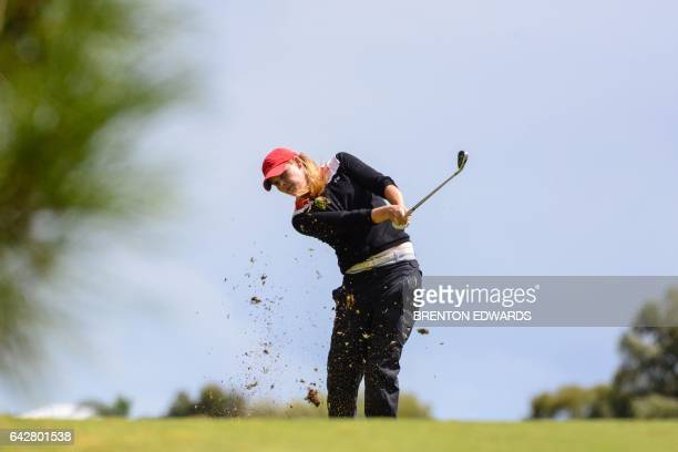 MaudeAimee Leblanc of Canada hits a shot on the final day of the Australian Open golf tournament at the Royal Adelaide Golf Club on Febuary 19 2017...
