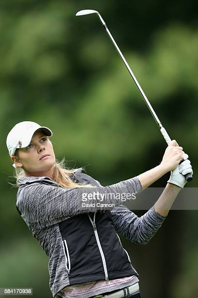 MaudeAimee Leblanc of Canada hits her second shot on the 1st hole during the first round of the 2016 Ricoh Women's British Open on July 28 2016 in...