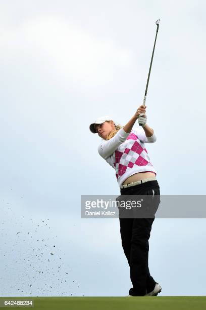 MaudeAimee Leblanc of Canada plays a shot during round three of the ISPS Handa Women's Australian Open at Royal Adelaide Golf Club on February 18...