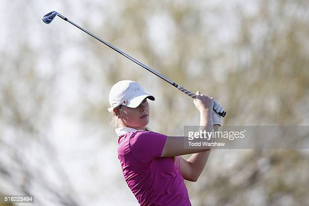 MaudeAimee Leblanc of Canada tees off on the 13th hole during the first round of the LPGA JTBC Founders Cup at Wildfire Golf Club on March 17 2016 in...