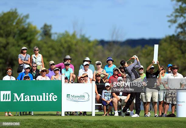 MaudeAimee Leblanc of Canada tees off on the 1st hole during the third round of the Manulife LPGA Classic at Whistle Bear Golf Club on September 3...