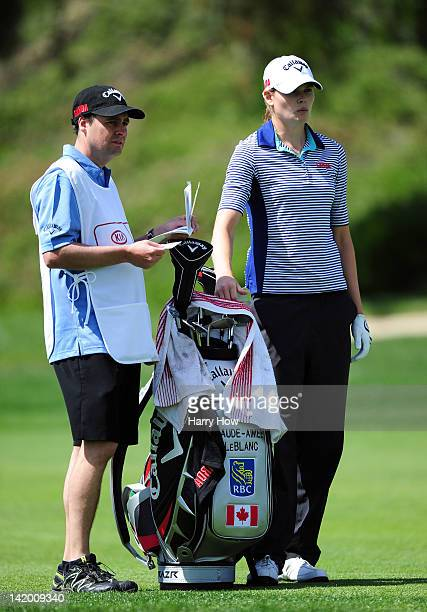 MaudeAimee Leblanc of Canada waits with caddie on the 12 hole during the second round of the Kia Classic at the La Costa Resort and Spa on March 23...