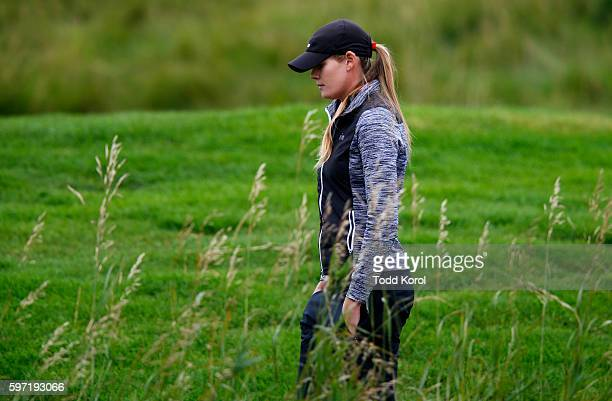MaudeAimee Leblanc of Canada walks down the 17th fairway during the final round of the Canadian Pacific Women's Open at Priddis Greens Golf and...