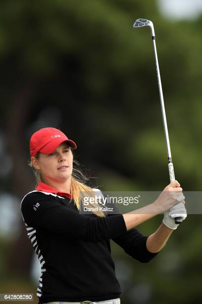 MaudeAimee Leblanc plays a shot during round four of the ISPS Handa Women's Australian Open at Royal Adelaide Golf Club on February 19 2017 in...