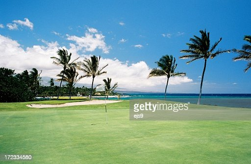 Maui Hawaii Pacific ocean front golf hole