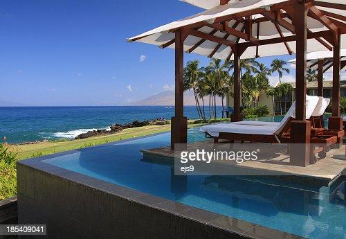 Maui Hawaii resort hotel infinity pool, Pacific ocean scenic