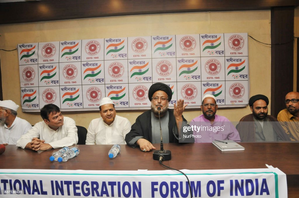 Maulana Rizvi addressing and welcome to Triple Talaqissue Supreme Court Oder at the press conferences Kolkata Imams for end Triple Talaq issue at Kolkata Press club on August 22,2017 in Kolkata,India.