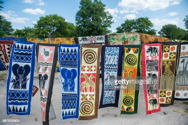 Maun Botswana Africa Hanging decorative panels hand painted and for sale in the Sexaxa Village
