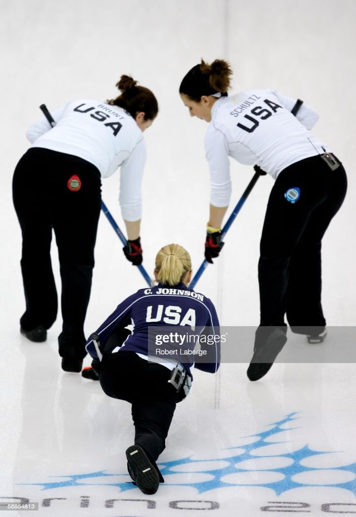 Maureen Brunt Cassie Johnson and Jessica Schultz of the United States compete in the preliminary round of the women's curling between Denmark and USA...