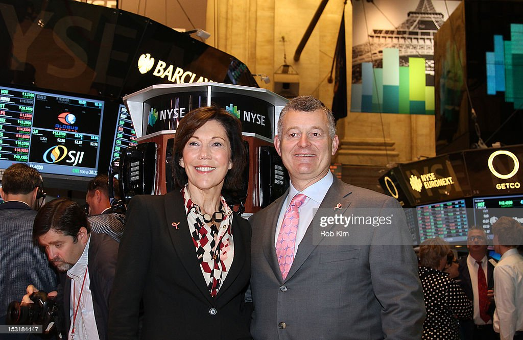 Maureen Case president of luxury cosmetic brands La Mer Jo Malone and Bobbi Brown and executive chairman William P Lauder visit the New York Stock...