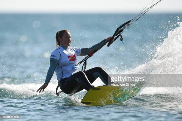 Maureen Castelle of France competes in the WKL Kiteboarding World Cup 2017 freestyle qualifiers on April 14 2017 in Leucate France