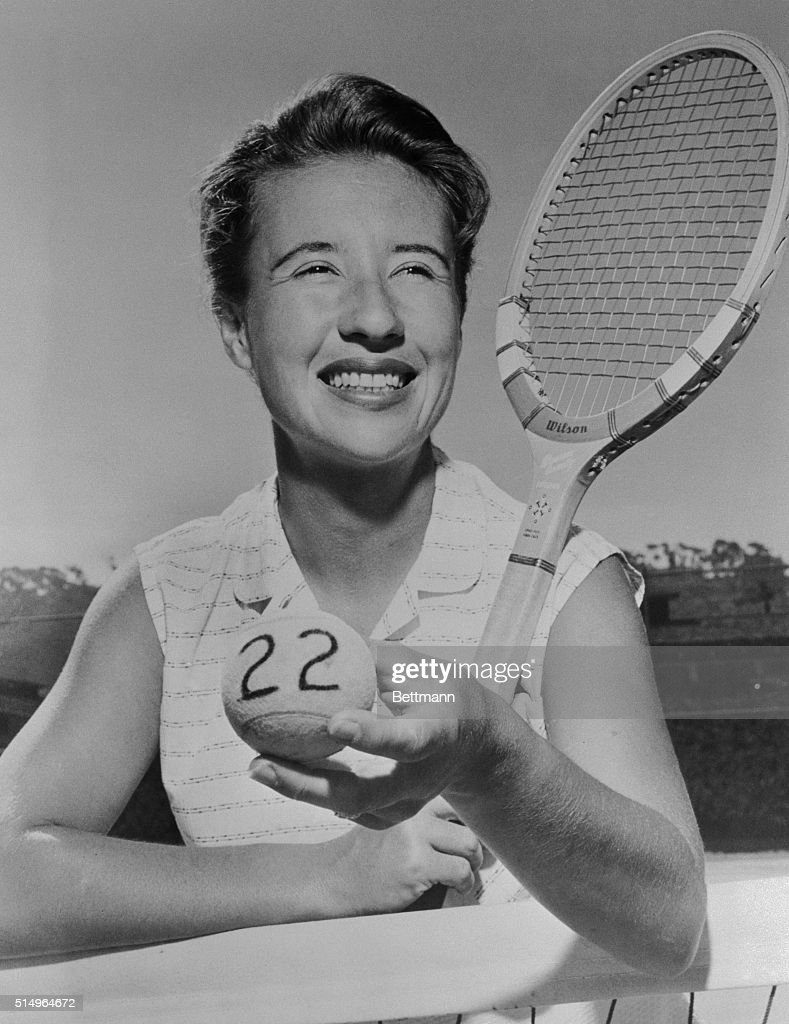Maureen Connolly Holding Tennis Racket and Ball