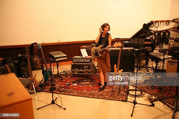 Maureen Herman of Babes In Toyland plays bass during a recording session for the Big Ol' Nasty Getdown at Studio 606 in Northridge California on...