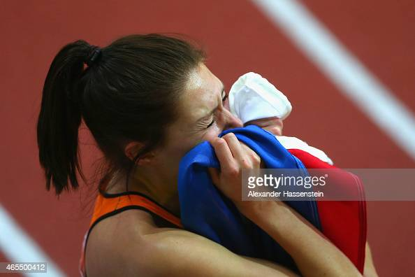 Maureen Koster of Netherlands shows her emotion after winning the bronze medal in the Women's 3000 metres Final during day two of the 2015 European...
