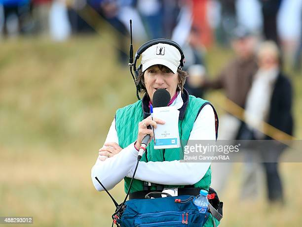 Maureen Madill of Northern Ireland working for BBC Television during the morning fousomes matches in the 2015 Walker Cup Match at Royal Lytham St...
