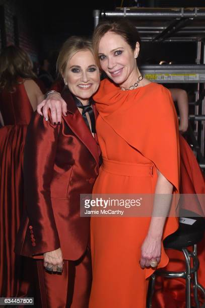 Maureen McCormick and Lauren Holly attend the American Heart Association's Go Red For Women Red Dress Collection 2017 presented by Macy's at Fashion...