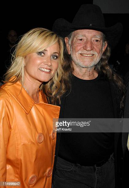 Maureen McCormick and Willie Nelson during 5th Annual TV Land Awards Backstage at Barker Hangar in Santa Monica California United States