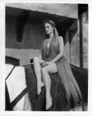 Maureen O'Hara sitting on the back of horse in a scene from the film 'Lady Godiva Of Coventry' 1955