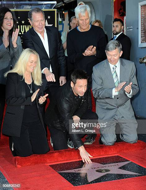 Maureen Schultz actor Garry Shandling writer/director Chris Carter Beth Marlis actor David Duchovny and WOF CEO/President Leron Gubler at the Star On...