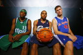 Maurice Ager of the Dallas Mavericks Shannon Brown of the Cleveland Cavaliers and Paul Davis of the Los Angeles Lakers pose for a portrait during the...