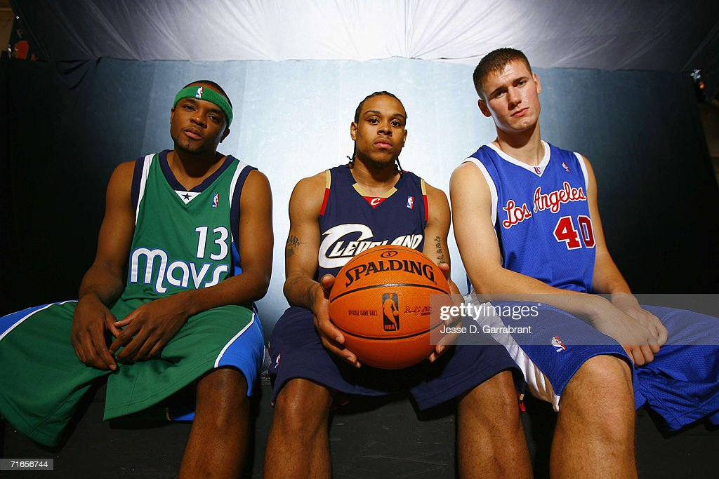 Maurice Ager of the Dallas Mavericks Shannon Brown of the Cleveland Cavaliers and Paul Davis of the Los Angeles Clippers pose for a portrait during...