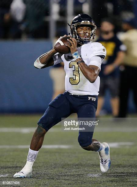 Maurice Alexander of the Florida International Golden Panthers throws the ball against the Central Florida Knights on September 24 2016 at FIU...
